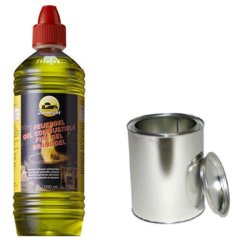 Moritz Starter Set 3 x 1000 ml Brenngel + 2X Blechdose 500 ml mit Deckel für Brenner Kamin Ofen Sicherheitsbrenner Brennpaste