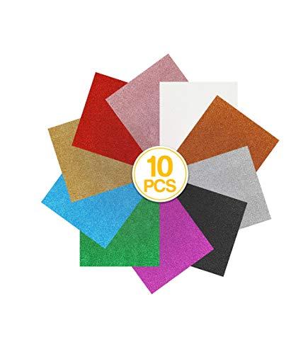 "MerryMade Heat Transfer Vinyl HTV Bundle, Classic Glitter 12""x10"" 10-Pack Assorted Colors Incl. StandardGrip Cutting Mat Teflon Sheet for Heat Press | Easy to Cut, Weed & Transfer"