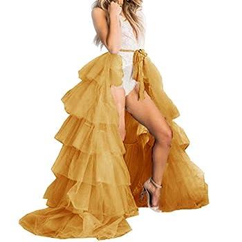 Lisong Women Wedding Maxi Tulle Tutu Wrap Skirts Detachable Train Overskirt Overlay Long Bridal 4 Gold