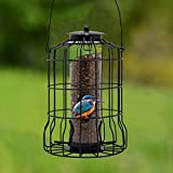 FORUP Caged Tube Feeder, Squirrel Proof Wild Bird Feeder, Outdoor Birdfeeder with Large Metal Seed Guard Deterrent for Large Birds