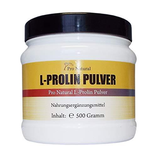 L-Prolin 500g, 100% reines Pulver (von der Menge wie 1000 L-Proline 500mg Kapseln)