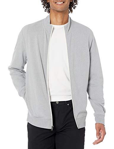 Amazon Essentials Lightweight French Terry Full-Zip Mockneck Sweatshirt Felpa, Grigio Chiaro Puntinato, L