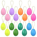 Elcoho 16 Pieces Easter Hanging Eggs Multicolor Easter Hanging Ornaments Easter Egg Tree Hanging Ornaments for Easter Home Office Party Supplies