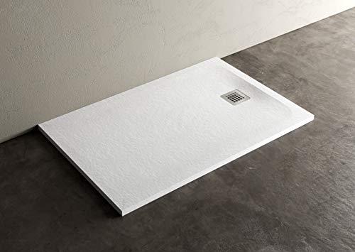 Vitaliko - Plato de ducha 70 x 90 blanco Marmoresina efecto piedra piedra pizarra grosor 3 cm mineral mármol