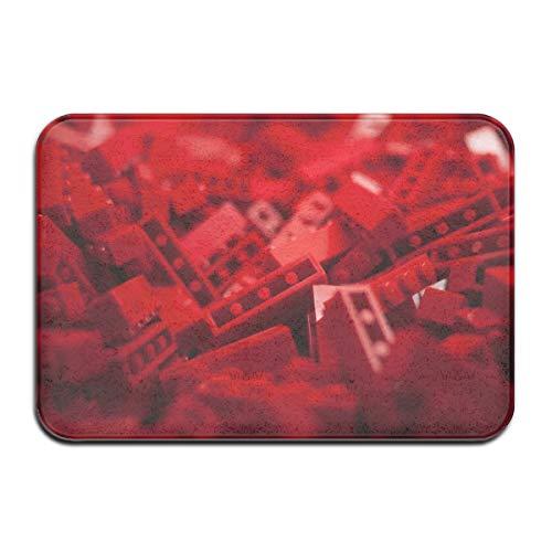 TTYIY Lego Macro - Felpudo para puerta de entrada (40 x 60 cm), diseño abstracto, color rojo