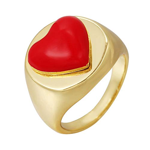 Anillo de dedo rosa retro moda 18 K esmalte oro anillo dedo anillo vintage margarita flor hombres mujeres joyería (oriental Taiji-8)
