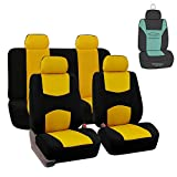 FH Group FB050115 Flat Cloth Seat Covers (Yellow) Full Set with Gift – Universal Fit for Cars Trucks & SUVs