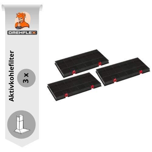 DREHFLEX 3 x Filtre à charbon actif pour hottes de AEG/Juno/Electrolux/Bosch/Siemens/Bauknecht/Whirlpool, avec Boutons Rouges, compatible avec dkf24/klf60/80