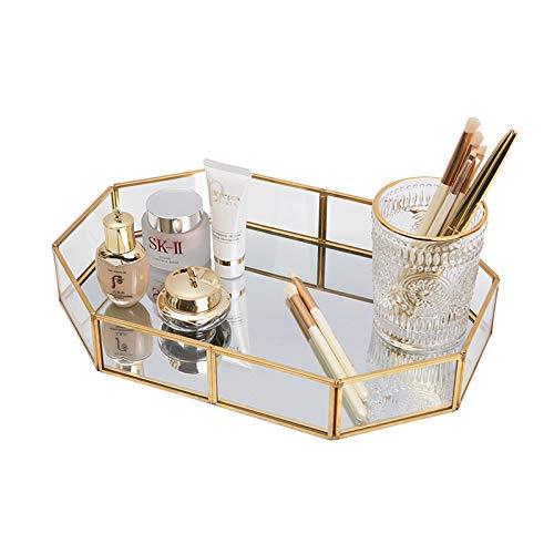 SLHEQING Spiegeltablett Gold Vintage Spiegel Tablett Make-up Schmuck Organizer, Verspiegelt Metall Deko Tablett (20 x 14 x 4 cm)