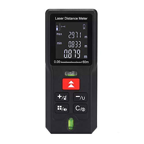 Misuratore di distanza laser, portatile, con maniglia, strumento di misurazione digitale, rilevatore di distanza con livella a bolla e ampio display LCD retroilluminato