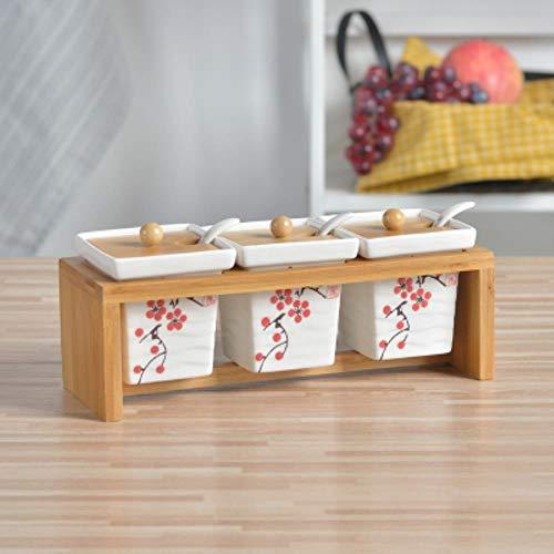 Kruidenpotjes Huishoudelijke keuken benodigdheden kruidenpotje keramische cruet zout peper fles bamboe dienblad keuken kruiden gereedschap opslagtank, 3st