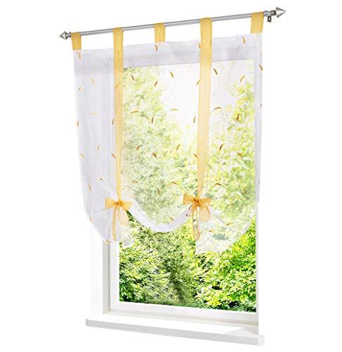 LiYa Raffrollo mit Stickerei Band Raffgardinen Voile Transparent Schlaufen Vorhang (BxH 100x140cm, Gelb)