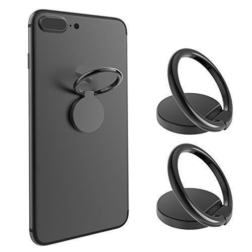 BellFan 2X Handy Halter Finger Ring 360° freidrehbar Kickstand Smartphone Halterung mit Komfortable Einhandbedienung Metallring Ständer Finger-Halterung Fitness Ringhalter Handys/Tablette(Schwarz)