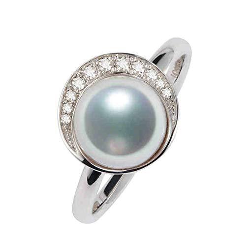 Daesar Anillo de Mujer Plata Anillo de Compromiso Oro Blanco 18K Redondo con Perla Diamante 0.18ct Anillo Talla 9,5