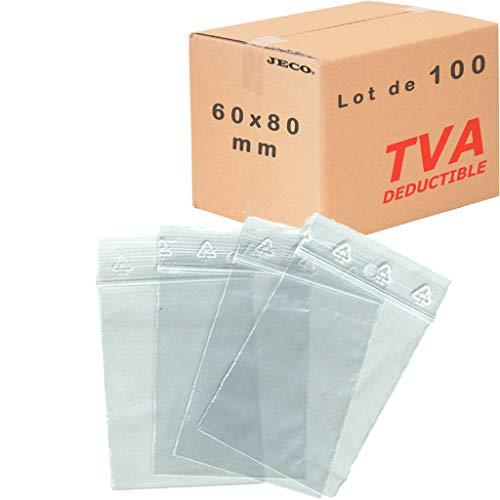 Lot 100 sachets à fermeture zip 60x80 mm 6x8 cm pochettes qualité alimentaire 50microns Jeco