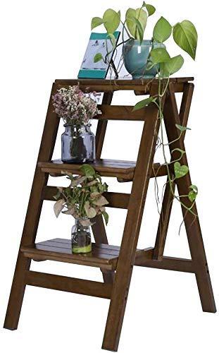FTFTO Productos para el hogar Escaleras de Mano Escalera Plegable Silla de Escalera con estantes multifunción Soporte de Flores de 3 Capas Zapatero de bambú J6T8D3