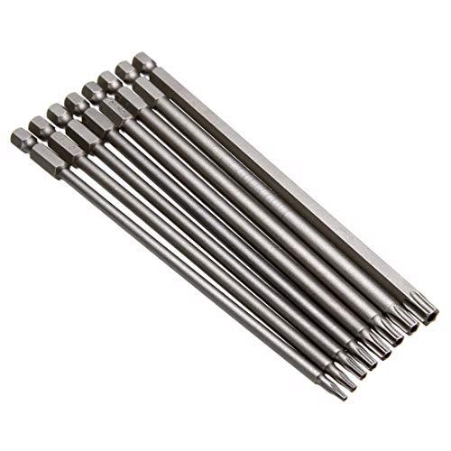 Juego de 8 puntas de destornillador Torx magnéticas de 150 mm de largo de acero eléctrico herramientas T8/T10/T15/T20/T25/T27/T30/T40