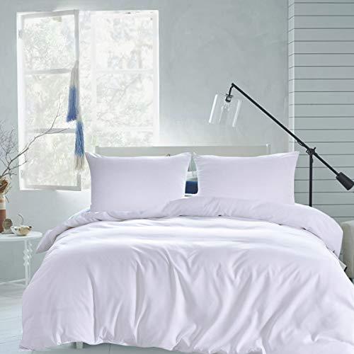 RUIKASI Bettwäsche Set 200 x 220 cm Weiß Bettwäsche 100% Weiche und Angenehme Mikrofaser Schlafkomfort - 1 Bettbezug 200x220 mit Reißverschluss + 2 x Kissenbezüge 80 x 80-10 Jahre Garantie - weiß
