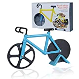 Bicycle Pizza Cutter, Bike Pizza Slicer with Non-stick Stainless Steel Dual Cutting Wheels Ruicky Bike Pizza Cutter Wheel with a Stand for Bicycle and Pizza Lovers