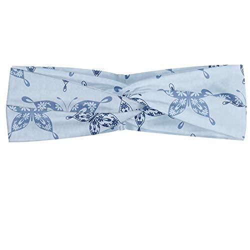 ABAKUHAUS Diadame Flores Insectos, Banda Elástica y Suave para Mujer para Deportes y Uso Diario Impresión de la mariposa Siluetas en motivos florales, Azul de la pizarra de la pizarra azul