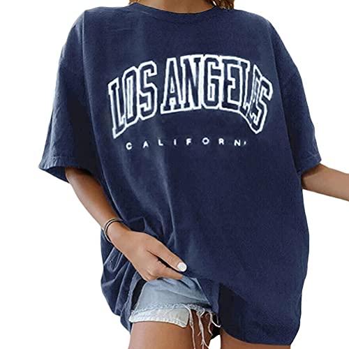 Tomwell Damen Löwenzahn Sweatshirt Langarmshirt Pusteblume Drucken Pullover Herbst Winter Bluse Tops Oberteile 01 Blau Kurzarm L