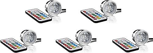 Pack de 5 LED RGB + módulo blanco cálido 3 W 230 V regulable – con mando a distancia – carcasa de aluminio