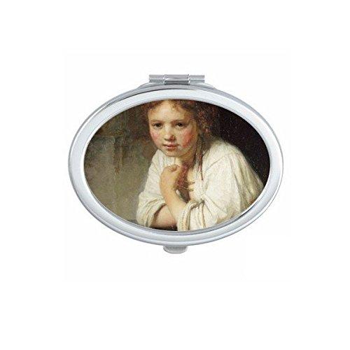 DIYthinker Femme de ménage Rembrandt Van Rijn Harzoon célèbre Huile Panintings Huiles Ovale Maquillage Compact Miroir de Poche Portable Mignon Petit Miroirs Main