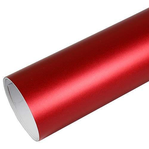 Rapid Teck® 15,79€/m² Premium – MATT Chrom Rot 50cm x 1,52m Auto Folie Blasenfrei mit Luftkanälen für Auto Folierung und 3D bekleben in Matt Glanz und Carbon Autofolie