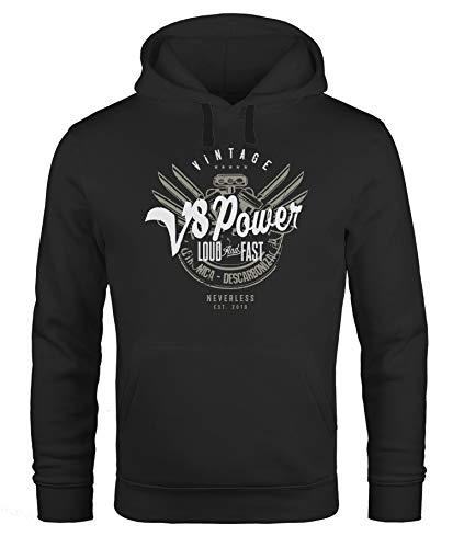 Neverless Hoodie Herren V8 Power Motor Block Tuning Kapuzen-Pullover Männer schwarz L