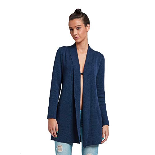 Brunella Gori Waterfall Cardigan Senza Tasche Laterali - in 100% Merino Extrafine Color Navy S