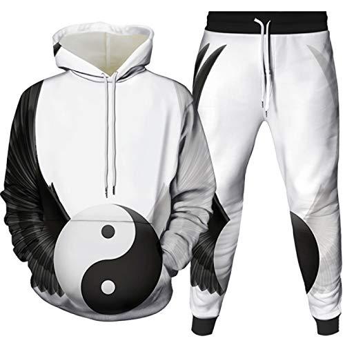 Ropa deportiva de los hombres de 2 piezas de ropa deportiva traje 3D de impresin digital con capucha de los hombres
