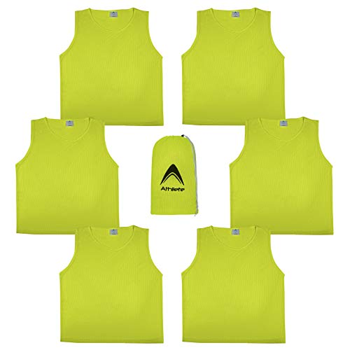 Athllete DURAMESH Set of 6 - Youth Scrimmage Vests/Pinnies/Team Practice Jerseys with Free Carry Bag (Neon Yellow, Medium)