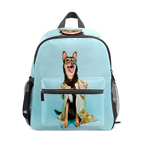 Kinder-Rucksack für Vorschule, für Jungen und Mädchen, leicht, für 1–6 Jahre, perfekter Rucksack für Kleinkinder bis Kindergarten, Party, Make-up, Hund mit Mantel, niedliches Tier, Blau