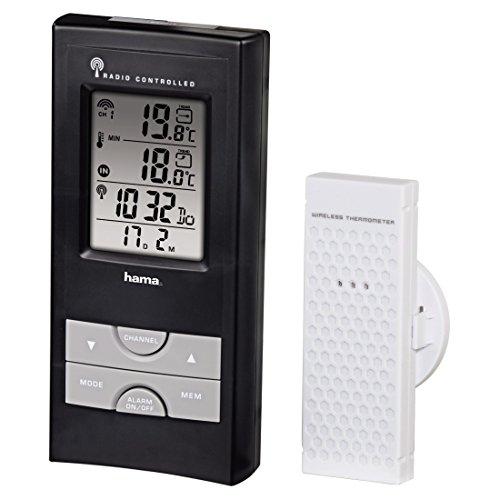 Hama Funk Wetterstation EWS-165 (Funkuhr, Wecker, Thermometer und Frostalarm, inkl. Außensensor mit 30m Reichweite) schwarz