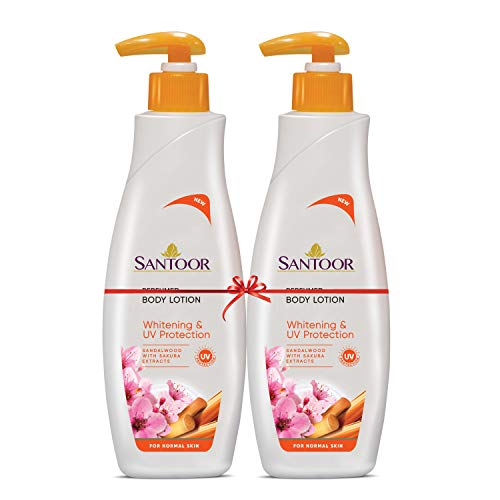 Santoor Perfumed Body Lotion for Whitening & UV Protection with Sandalwood & Sakura Extracts, 250ml (Buy 1 Get 1)