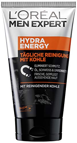 L'Oréal Men Expert Hydra Energy X Kohle-Reinigung, bekämpft Hautunreinheiten (Mitesser, Akne und Pickel) ohne austrocknen Porenverfeinernd (150 ml)