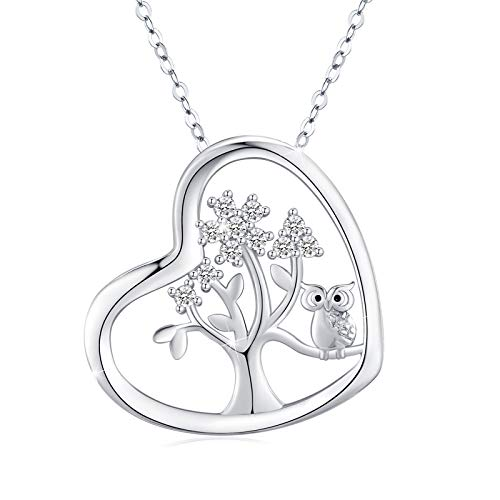 Family Tree of Life Necklace, Hearts Pendant with Owl 925 Sterling Silver Cubic Zirconia Pendant with Fine Jewelry Gift Box for Women Girlfriend Mom