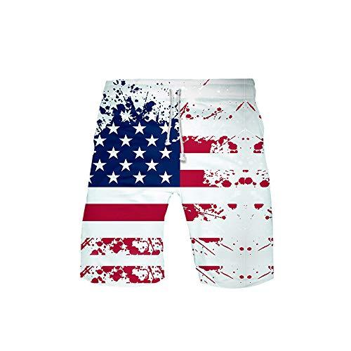 URVIP Herren Flagge der USA Badeshorts Schnell trockene Badehose Fashion Beach Board Shorts mit elastischer Taille Flagge-03 L