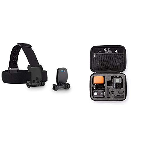 GoPro Kopfband Plus Quick-Clip - geeignet für alle GoPro Kameras (Offizielles GoPro-Zubehör) & Amazon Basics Tragetasche für GoPro Actionkameras, Gr. S