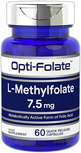 L Methylfolate 7.5 mg | 60 Capsules | Optimized and Activated | Non-GMO, Gluten Free | Methyl Folate, 5-MTHF | by Opti-Folate