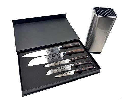 AnKoshop24 5er KOCHKNIFE© Messer Set im Damascus Style Küchenmesser Damastmesser mit Holzgriff (5tlg. Messerset + Messerblock)