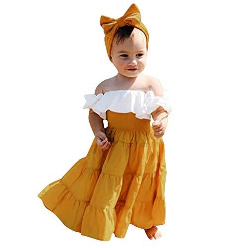 Conjunto de ropa para niñas de 0 a 10 años de edad, para niñas de verano sin hombros descubiertos+vestido...