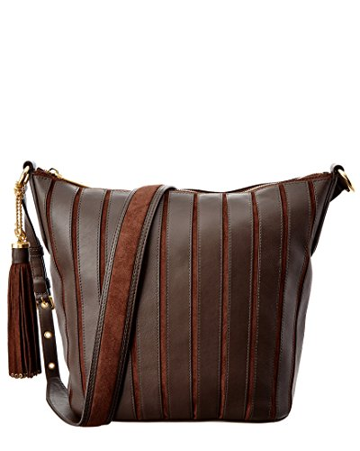 "Leather Zip pocket, tech pocket, 3 open pockets and dog clip inside Brushed gold-tone hardware, Thick, large detachable tassel accent with grommet metal at ends Polyester lining, Zip Closure Approx. 14"" W X 12"" H X 5"" D"