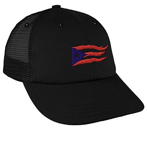 Puerto Rico Flame Flag On Black Sewed Low Crown Mesh Golf Snapback Hat Black