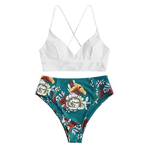 Dicomi Damen Bikini Set Push Up Badeanzug Oberteil High Waist Zweiteiliger Blumendruck Split Sets Plus Size Beachwear Badeanzug Bikini