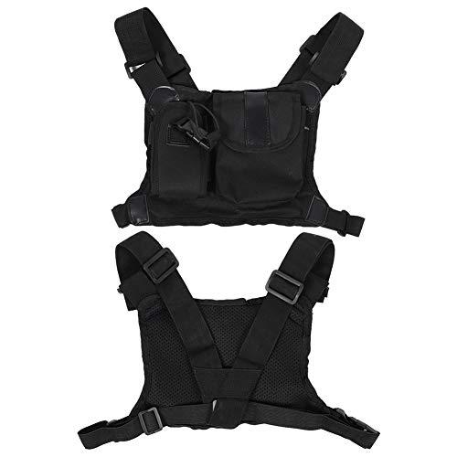 Yanmis Brustverpackung, Nylon verstellbare Schulter Zwei-Wege-Radio-Brusttasche zum Aufhängen von Rucksäcken Rucksackholster für Produktionswerkstätten, Baustellen
