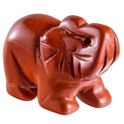 KYEYGWO - Figura de Elefante de Cristal con Piedras Preciosas, Tallada a Mano, Escultura de Elefante, Amuleto de Bolsillo, decoración de Reiki, Jaspe Rayas Rojas
