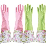 Rubber Latex Waterproof Dishwashing Gloves,Long Cuff and Flock Lining Household Cleaning Gloves 2 Pair (Medium)