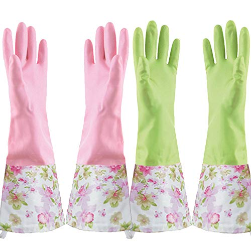 KINGFINGER Rubber Latex Cleaning Gloves, Dishwashing Gloves Long Cuff and Flock Lining Household Gloves Size Medium 2 Pairs