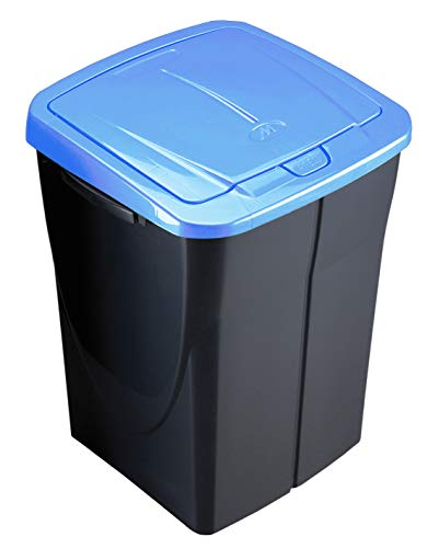 M Home Cubo 45 L ECOBIN con Tapa de Color Azul 36,5x36x51 cm, Bleu Tropic